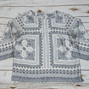 Dalia White/Navy Patterned 3/4 Sleeve Blouse